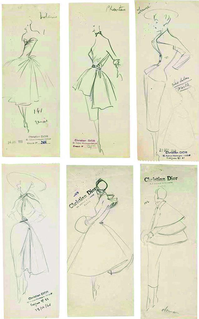 Ces croquis – collections haute couture automne-hiver 1948, printemps-été 1949, automne-hiver 1951 et printemps-été 1955 – sont révélateurs du style Dior par la prédominance d'un trait qui favorise l'expression de la ligne et du mouvement.
